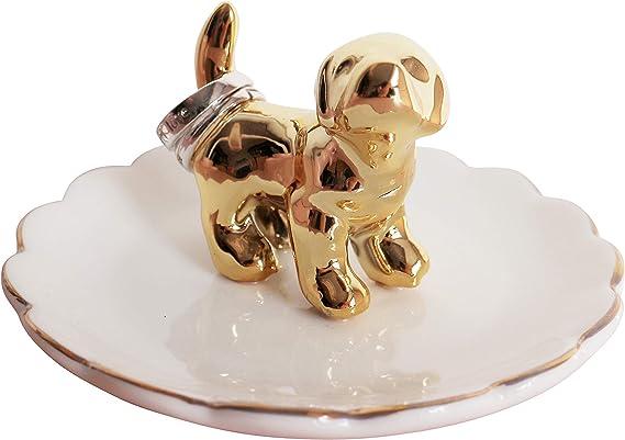 Dog ring holder cone tree ceramic jewelry storage animal lover gift engagement figurine miniature Christmas bridesmaid totem pocket charm