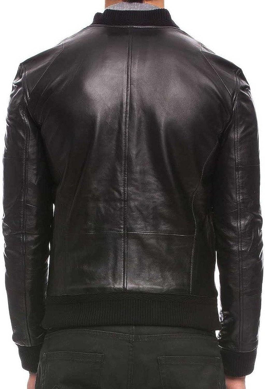 New Mens Leather Jacket Slim Fit Biker Motorcycle Genuine Leather Coat T503