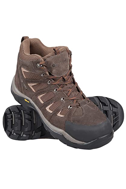 516073556ec58 Mountain Warehouse Field Mens Waterproof Boots - Vibram Hiking Boots, Suede  All Season Shoes, Mesh Upper Walking Shoes with Rubber Bumpers - Ideal for  ...