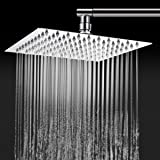 TAPCET Rain Shower Head Square Shower Head Overhead 304 Stainless Steel 8 Inches High Pressure Ultra Thin Top Spray Rainfall Shower Head, Great Gift for Parents and Friends