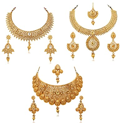 Buy Reeva Gold Plated Combo Of 3 Necklace Earring Set For Women