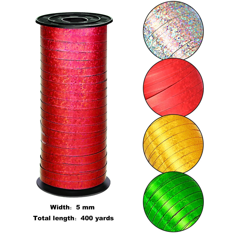 4 Couleurs et 400 Verges Totalement 4 Pi/èces Rubans de Curling M/étalliques Ruban de Ballon pour la D/écoration de F/ête de No/ël et lEmballage du Cadeau