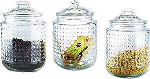 Home Basics, Clear Dott 40.5 oz. Glass Canister, (Set of 3)