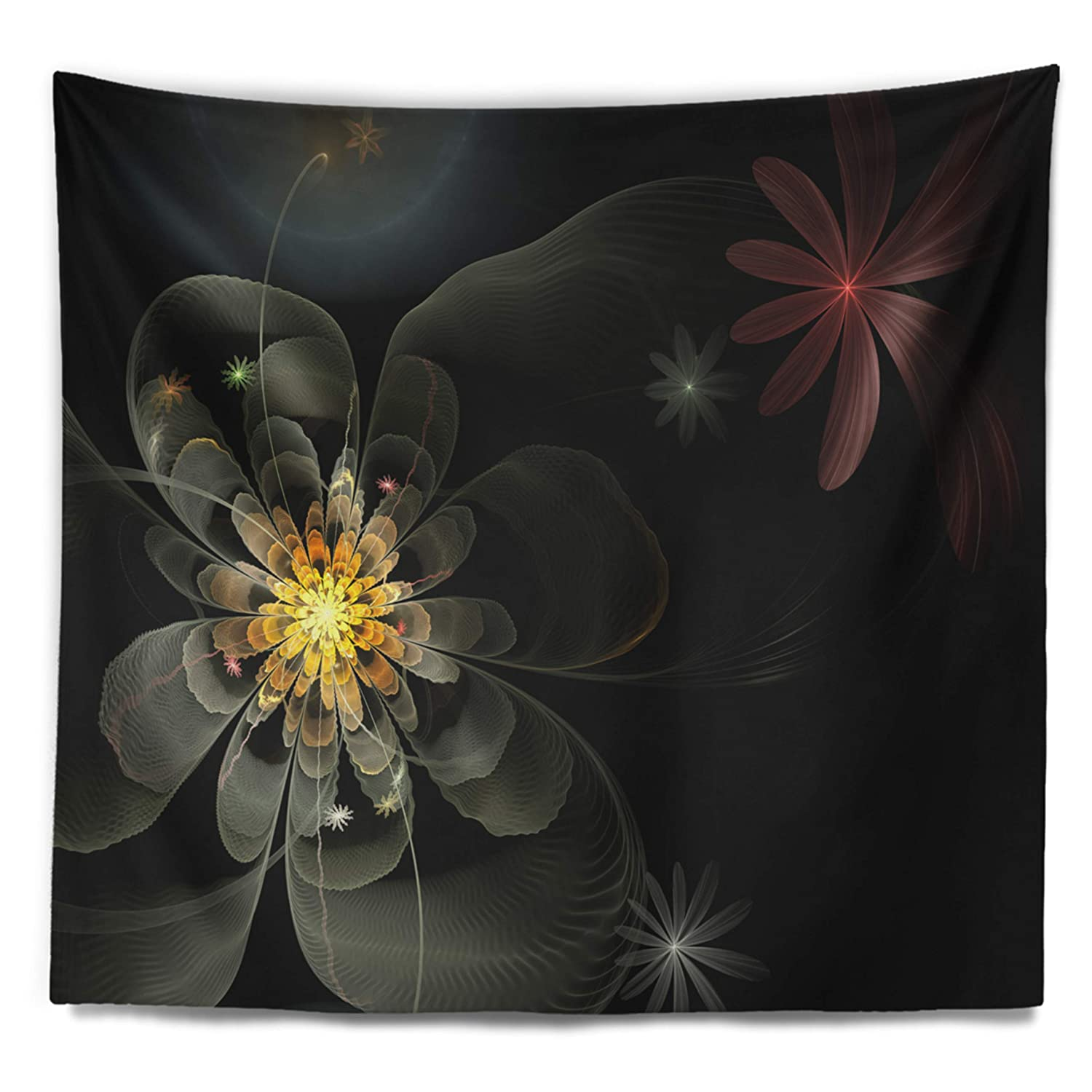 x 50 in Designart TAP12022-60-50  Yellow Small Fractal Flower in Black Floral Blanket D/écor Art for Home and Office Wall Tapestry Large 60 in in