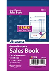 Adams General Purpose Sales Book, 2-Part, Carbonless, White/Canary, 3-11/32 x 5-5/8 Inches, 50 Sets/Book, 10 Books (DC3510)