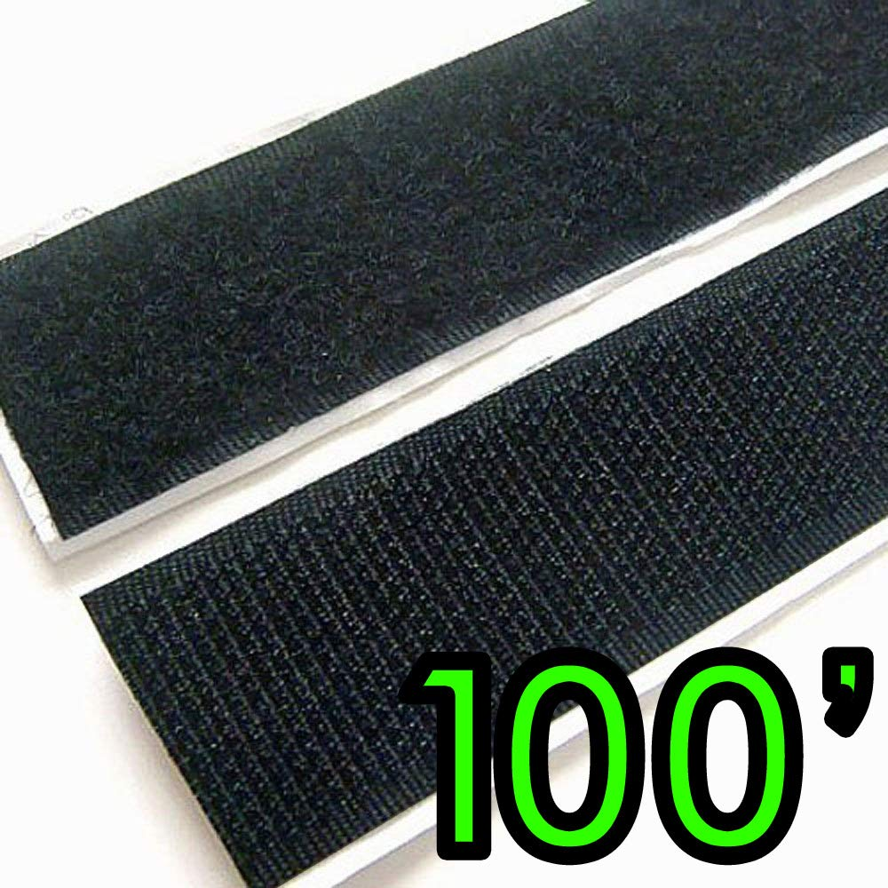 Electriduct 2'' Adhesive Backed Hook & Loop Sticky Back Tape Fabric Fastener - 100 Feet by Electriduct
