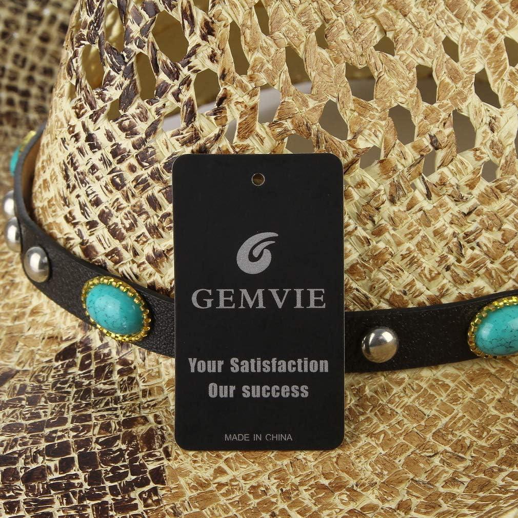 GEMVIE Handwoven Straw Cowboy Hat Classic Wide Brim Western Straw Cattleman Cowgirls Hat