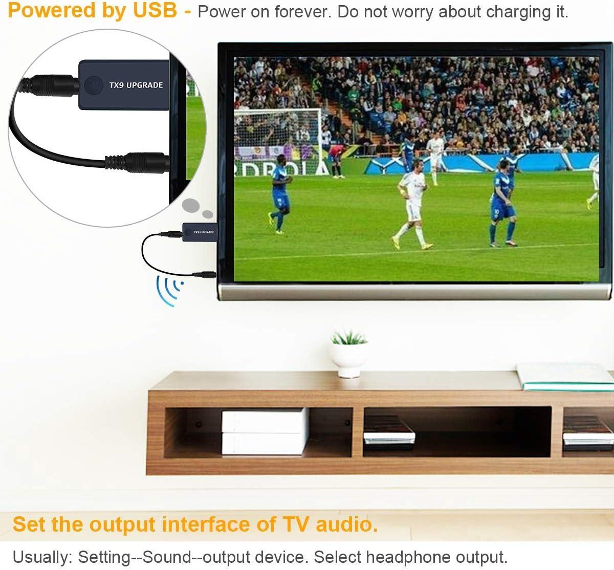 TX9 Transmisor Bluetooth para TV, PC (soporta 3.5mm, RCA, USB Audio de PC) Conexión Dual Adaptador Inalámbrico de Audio para Auriculares, Baja Latencia, Alta Fidelidad Estéreo, Plug and Play: Amazon.es: Electrónica