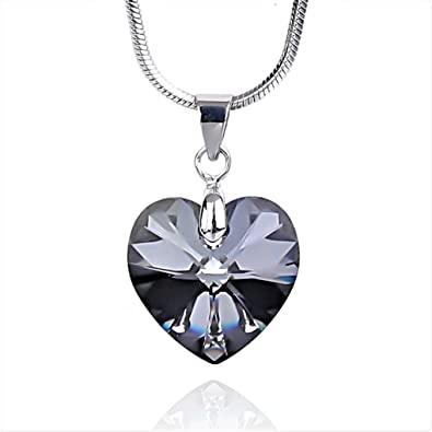 6d3434896 NickAngelo's Crystal Love Heart Pendant Necklace for Women 18K White Gold  Plated Made with Swarovski Elements