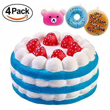 4 packs squishies jumbo strawberry cake and mini bread donut cream scented stress relief slow rising - Christmas Cake Decorations Amazon