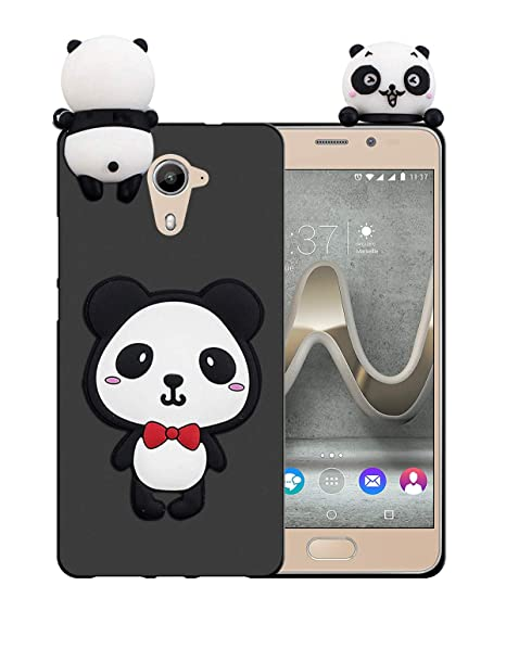 Sunrive Funda para Wiko U Feel Prime, Silicona Mate Funda Slim Fit Gel 3D Carcasa Case Bumper de Impactos y Anti-Arañazos Espalda Cover(W1 Panda 1) + ...