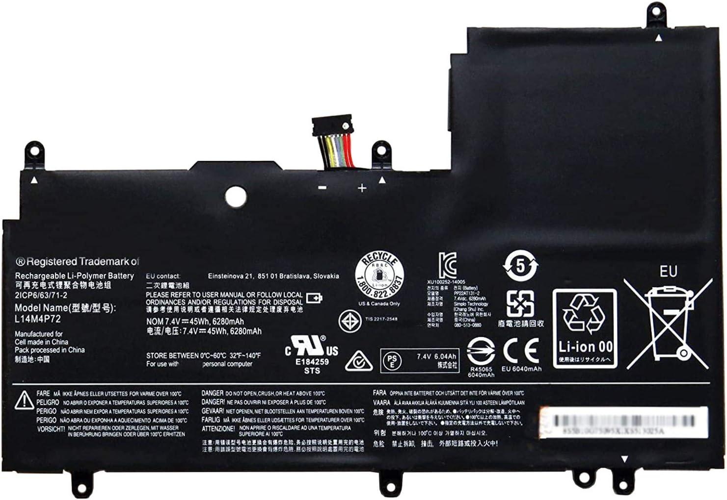 Dentsing L14M4P72 (7.4V 45Wh/6280mAh 4-Cells) Laptop Battery Compatible with Lenovo Yoga 3-1470 Yoga Ideapad 700 700-14ISK Series Notebook 5B10G75095 5B10K10224 L14S4P72 5B10G84689 5B10K10226