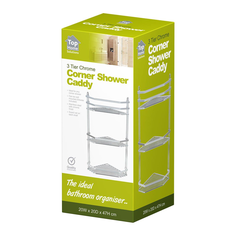 Top Home Solutions Bathroom 3 Tier Corner Shower Rack - Chrome A   Amazon.es  Hogar 91ab2001b471