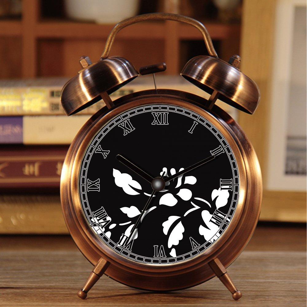 R/Ã/©veille-matin Retro Portable Bell double /Ã/ c?t/Ã/© du r/Ã/©veil avec la lumi/Ã/¨re de nuit 294.Flower Mouse