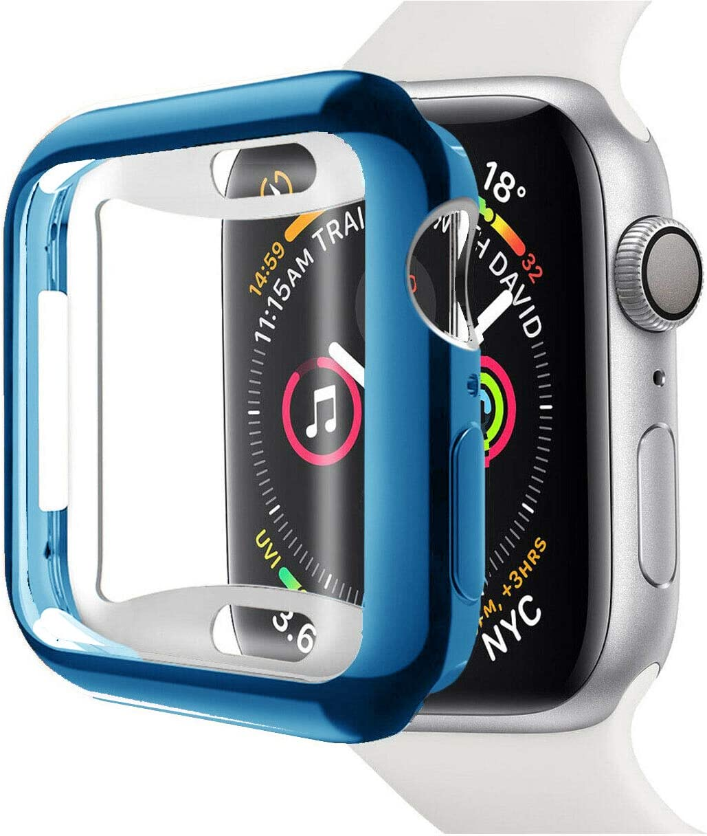 Pokanic- Apple Watch TPU Soft Full Cover Wireless Charge Ultra Light Weight Scratch Resistant Protective Screen Case HD Clear Compatible with Apple Watch SE 6 5 4 3 2 1 Series (Blue, 38mm)