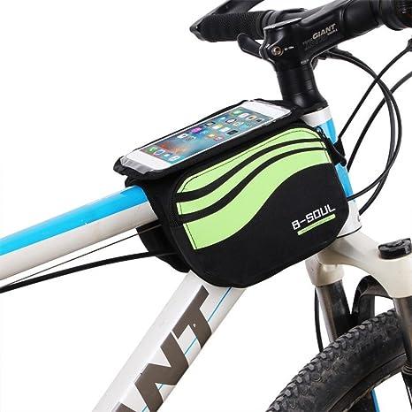 zjchao Bolsa Bicicleta Frontal 2-Lados alforja Delantera Bolsa de Manillar de 5.8 Pulgadas Móvil PVC Transparente Impermeable Bolso para MTB Bicicletas de montaña (Verde): Amazon.es: Deportes y aire libre