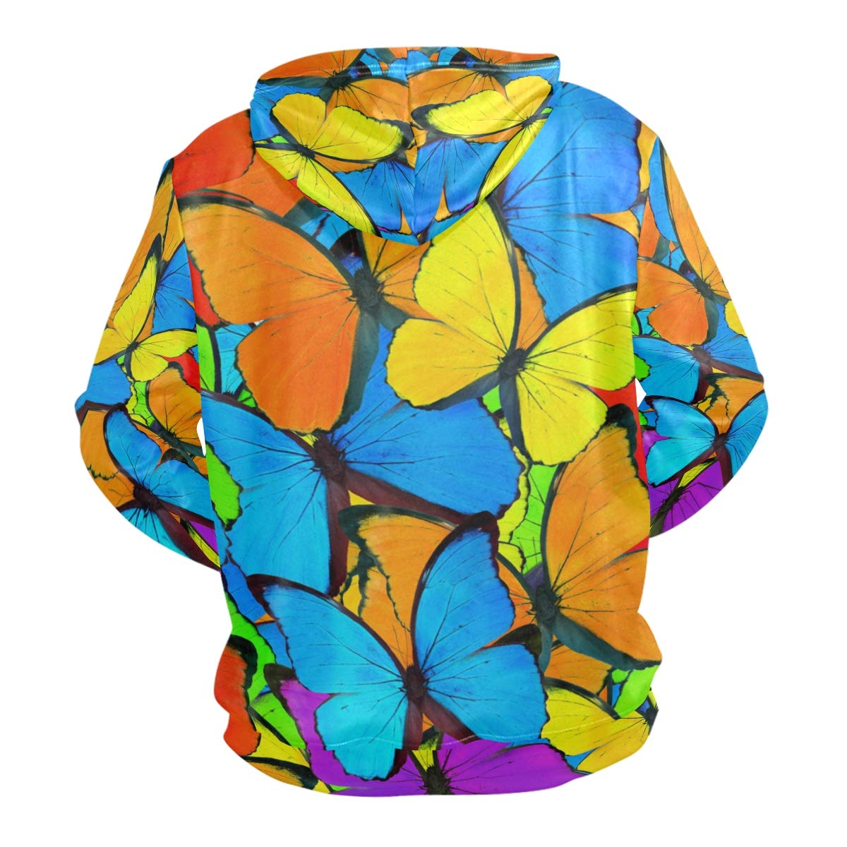 ZZKKO Colorful Butterfly Hoodie for Pullover Long Sleeves Thin Workout Sweatshirts