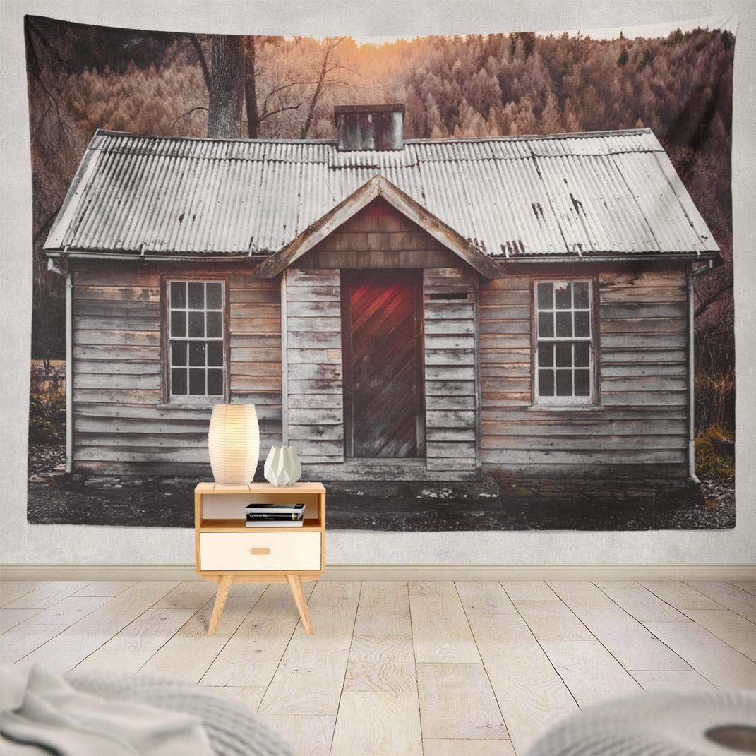 Amazon.com: Tyfuty Country-Mountain-Cabin Wall Tapestry, 80 ... on decorating a cabin living room, decorating a cabin home, decorating a cabin fireplace, decorating a cabin loft, decorating a cabin porch, decorating home bedroom, log cabin themed bedroom, decorating an apartment bedroom, decorating a cabin deck,
