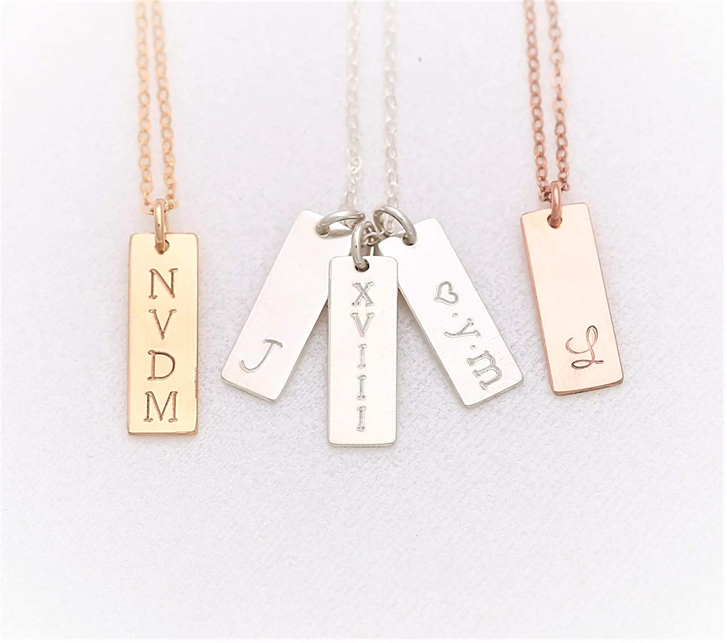 Personalized Jewelry Name Plate Necklace Personalized Necklace Name Necklace Custom Necklace Vertical Bar Necklace Engraved Necklace