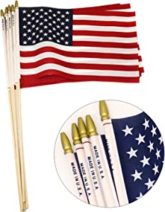 GiftExpress 12-Pack 8x12 Inch American Flag Proudly Made in U.S.A. Handheld US Stick Flags with Spear Gold Tip, Pole Hem Stitched Made in U.S.A American Stick Flags
