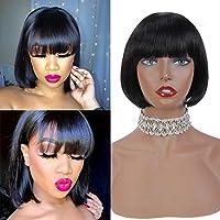 Short Bob Wigs Virgin Human Hair Straight Machine Made No lace With Bangs 6 Inch