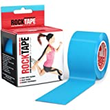 "RockTape Kinesiology Tape for Athletes, Water Resistant, Reduce Pain & Injury Recovery, 2"" x 16.4 Feet, Uncut, Electric Blue"