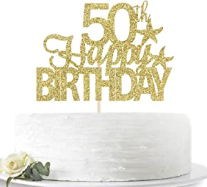 Glitter Gold Happy 50th Birthday Cake Topper, Hello 50, Fifty Years Old Party Sign Decorations