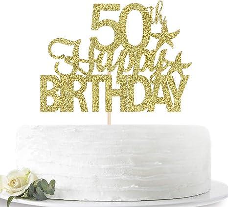 Astonishing Amazon Com Glitter Gold Happy 50Th Birthday Cake Topper Hello 50 Funny Birthday Cards Online Benoljebrpdamsfinfo