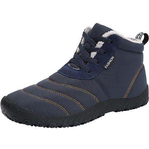 4d50fea4a43 wealsex Bottine Fourré Botte de Neige Imperméable Basket Montante Hiver  Chaussure Coton Chaude Homme (Bleu