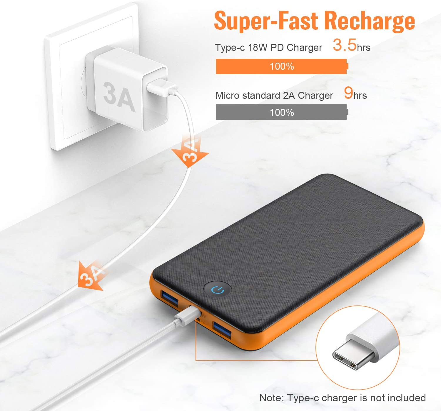 Tablet /& etc Huge Capacity External Battery Pack with Colorful LED Indicator Power Bank 26800mAh Portable Charger 18W PD /& QC 3.0 Quick Charging Type-C Input//Output 2 Inputs and 3 Outputs Cell Phone Charger for iPhone,Samsung,Android Phone