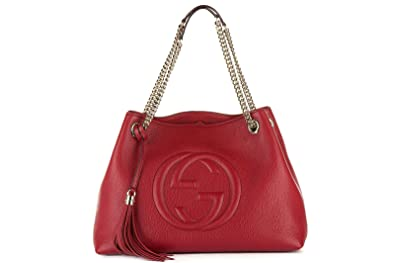 bd3917f79a6 Amazon.com  Gucci Womens Soho Leather Chain Straps Shoulder Handbag Red  Large  Shoes