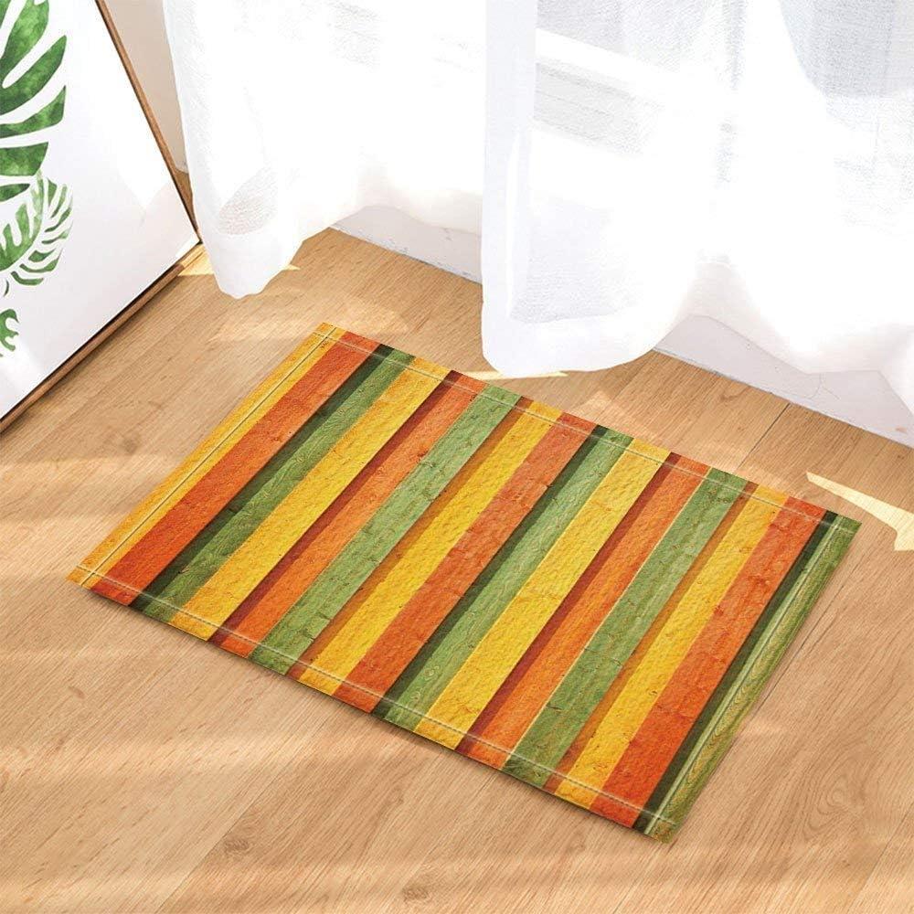Yellow Orange Yellow Black Cyan Rectangle stitchingBathroom mat Door mat Anti-Slip Floor Indoor Entrance Children 15.7X23.6IN Accessories