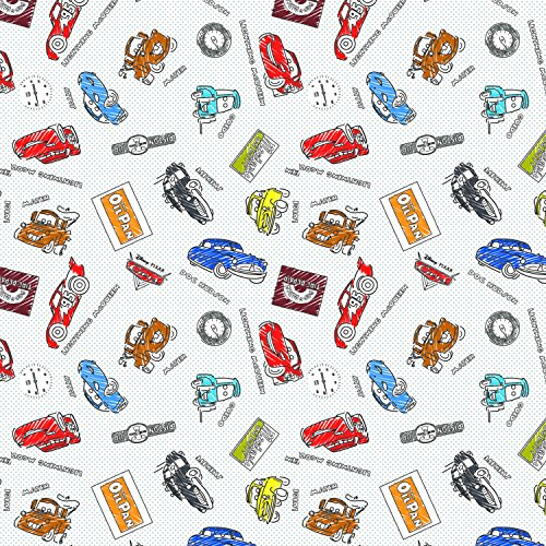 (Disney Pixar Coloring Collection Sketchy Cars in Premium Quality Cotton Fabric by The Yard)