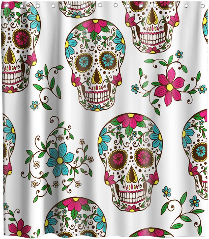 Nightmare Before Christmas Floral Sugar Skull Theme Fabric Shower Curtain Sets Bathroom Halloween Decor with Hooks Waterproof Washable 72 x 72 inches Turquoise Purple and White