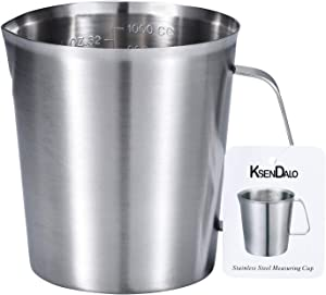 Measuring Cup, KSENDALO Stainless Steel Measuring Cup with Marking with Handle, 32 Ounces (1.0 Liter, 4 Cup)