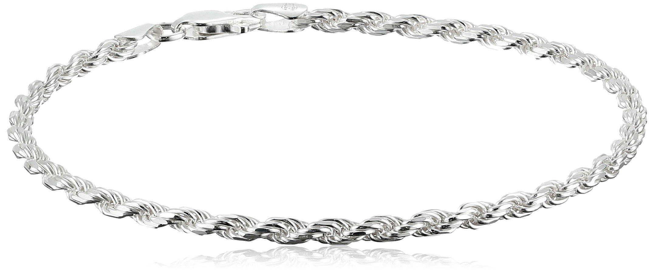 Amazon Essentials Sterling Silver Diamond-Cut Rope Chain Link Bracelet, 8''