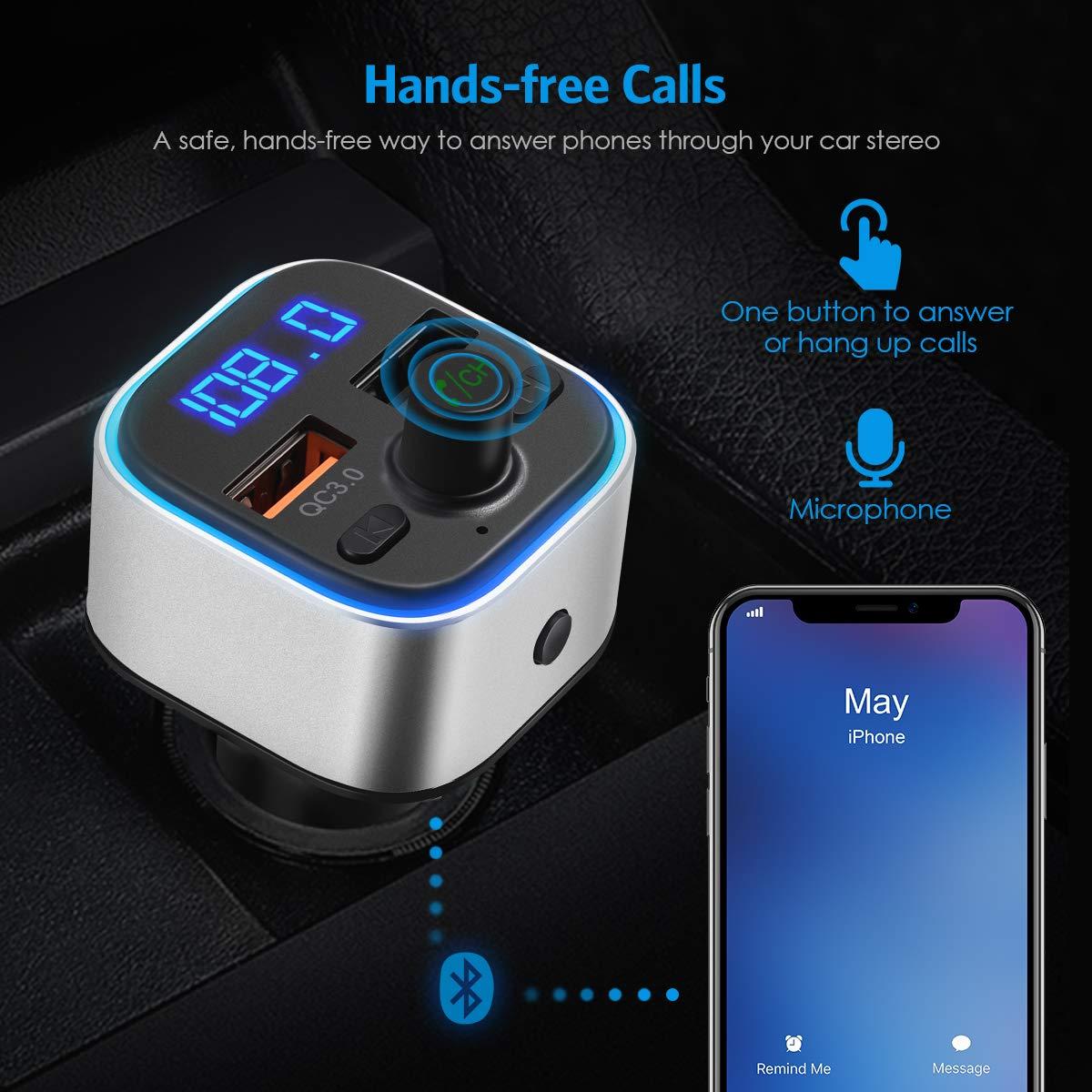 Criacr V5.0 Transmetteur FM Bluetooth Appel Mains Libres Deux Ports USB Carte SD Kit Main Libre Voiture sans Fil Adaptateur Radio Soutien Cl/é USB Argent 6 Couleurs R/étro-/Éclairage LED