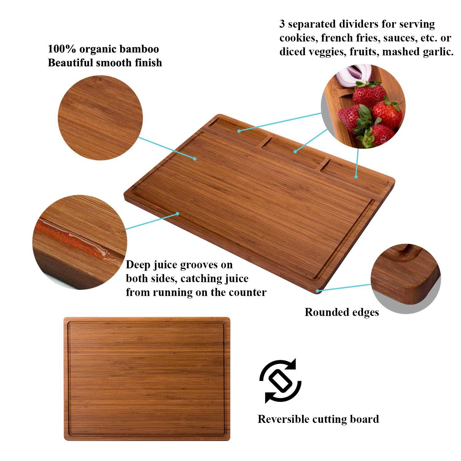 Reversible Heavy Duty Chopping Board Serving Tray Butcher Block Carving Board 17x12.6x0.62 Inch, Dark Bamboo Allsum Large Bamboo Kitchen Cutting Board With 3 Built-In Dividers And Juice Grooves