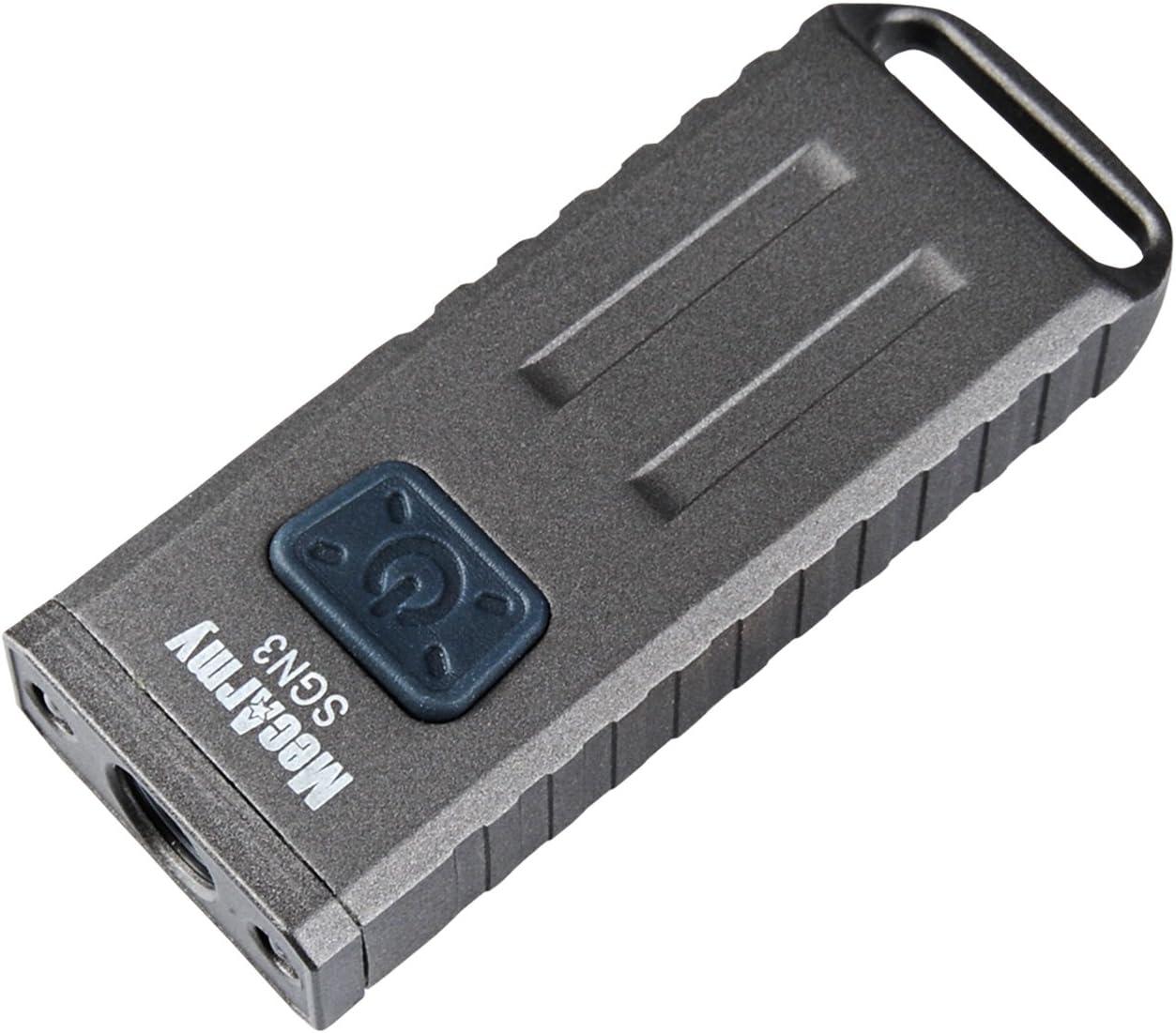 Image of a silver mini keychain MecArmy SGN3 flashlight.