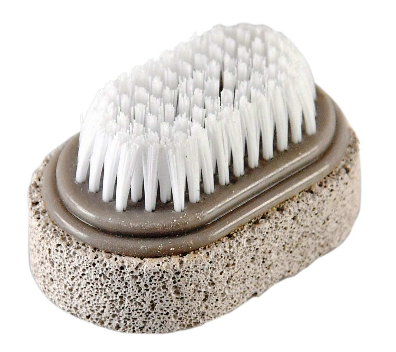 "HOME-X 2-in-1 Pumice Stone and Brush for Feet, Foot File, Dead Skin Callus Remover, Pedicure Tool, Bathroom Accessories-2 ¾"" L x 1 ¾"" W"