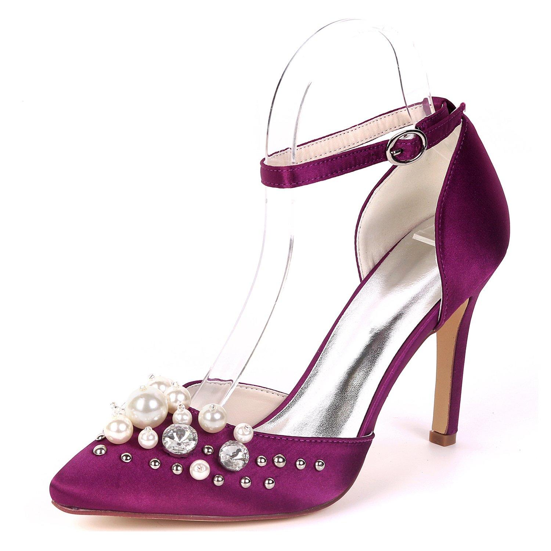 Flower-Ager 0608-22F Mujeres De Tacón Alto Correa De Tobillo Vestido De Raso De Diamantes De Imitación Bombas De Noche Baile De Fin De Curso Zapatos UK7/EU40|Purple