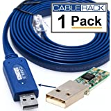 6 Foot FTDI USB RS232 to RJ45 Rollover Console Cable for Cisco (1 Pack) by CableRack