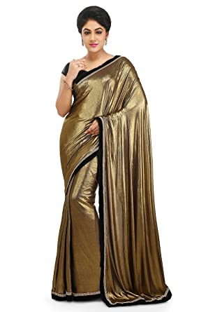 76d7df0a2a Aarti Saree Latest and Designer Golden imported Lycra Saree Fabric with  Black Velvet Un-Stitched