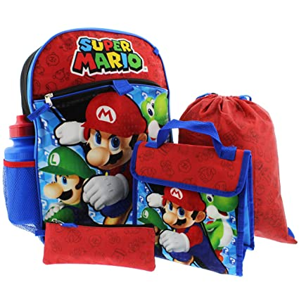 Nintendo Boys' Mario 5 Pc Set Backpack