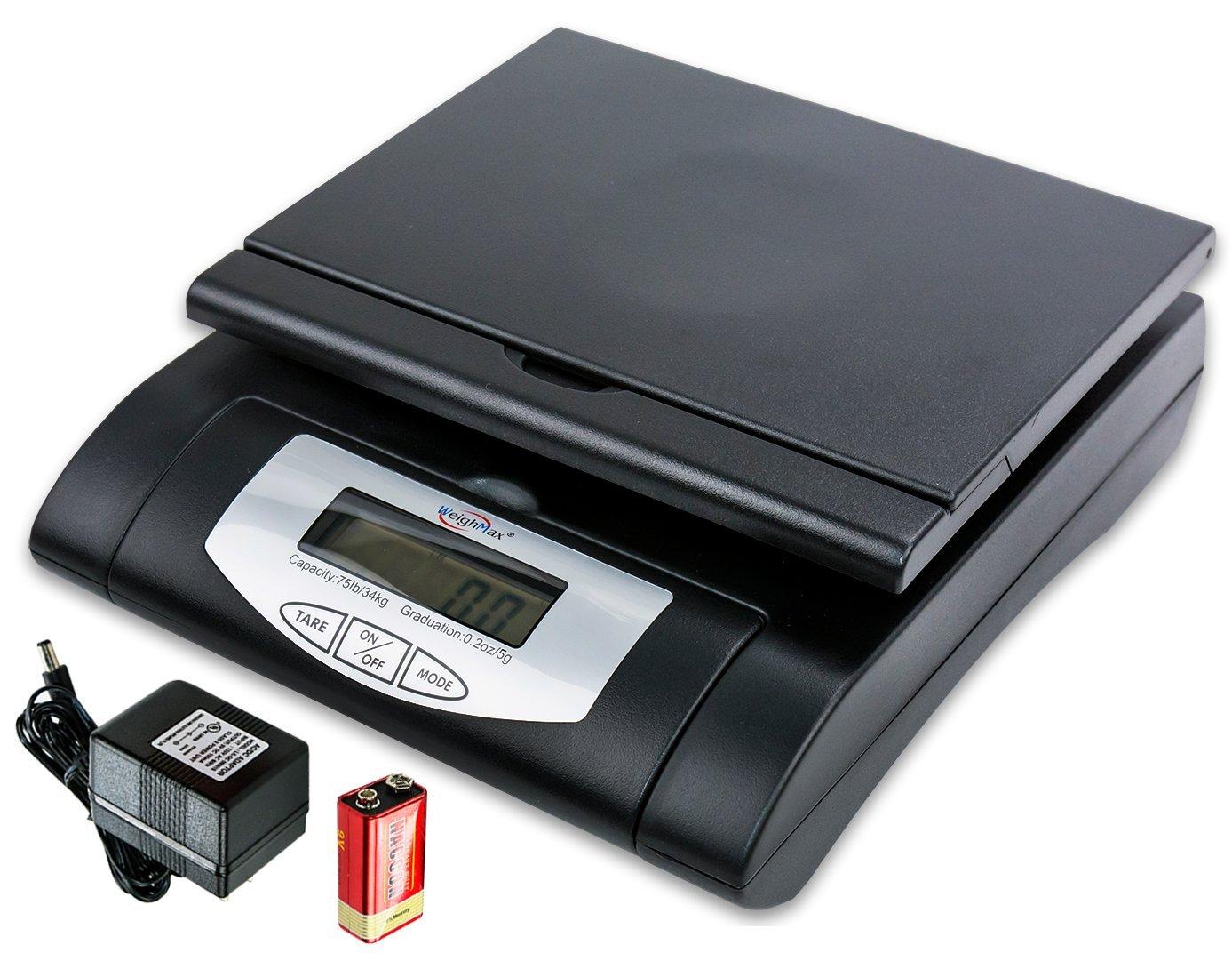 Weighmax 75 lbs. Digital Shipping Postal Scale, Black (W-4819-75 BLACK)