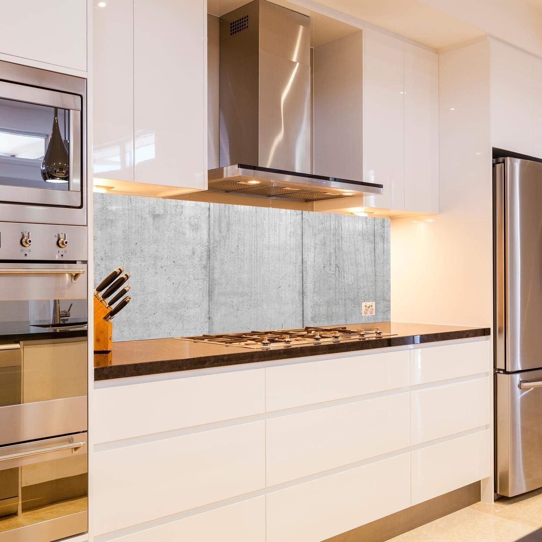 wandmotiv24 Pared trasera de cocina Muro de hormigón gris hormigón piezas shell 180 x 60 cm (W x H) - 3 mm de aluminio Protector de salpicaduras de la pared posterior del