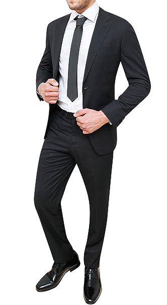 1367acc6ad Vestito completo uomo gessato nero abito sartoriale giacca con ...