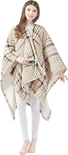 Beautyrest Ultra Soft Sherpa Berber Fleece Electric Poncho Wrap Blanket Heated Throw