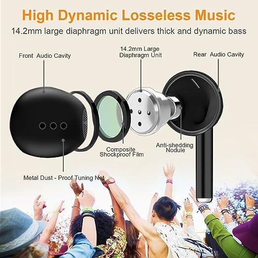 Auriculares Inalámbricos Bluetooth, Auriculares Estéreo In-Ear Micrófono Manos InEar Auriculares Auriculares Bluetooth 4.2 Manos Libres Incorporado ...