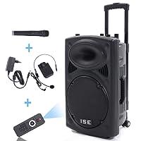 """ISE Enceinte sono portable 15""""/38cm 900W à LED RVB 15 VHF - Haut parleur avec micro sans fil et micro fil et lecteur MP3 (USB SD, chassis ABS, batterie longue durée) SY-14010"""